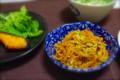 [食べ物][自炊]人参しりしり、焼き鮭、オクラのガラスープの素和え