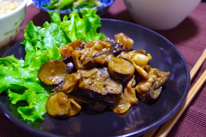 豚バラ肉と茄子の甘味噌炒め
