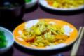[食べ物][自炊]ふーチャンプルー、ツルムラサキの和え物、即席のもずくスープ