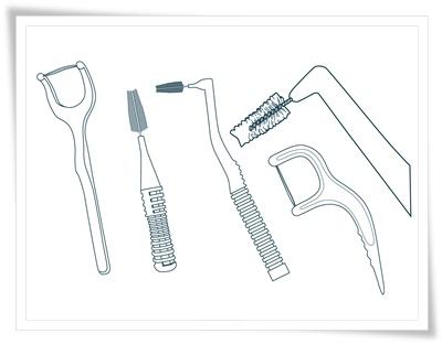 歯間ブラシやデンタルフロスのイラスト