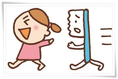 歯ブラシと女の子