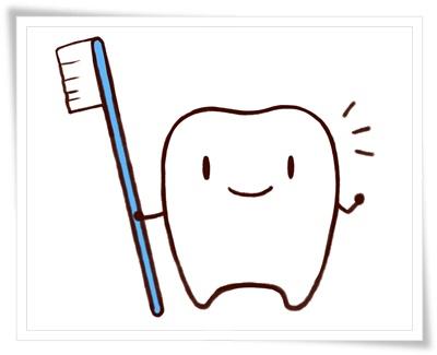 キレイな歯ブラシと白い歯のイラスト
