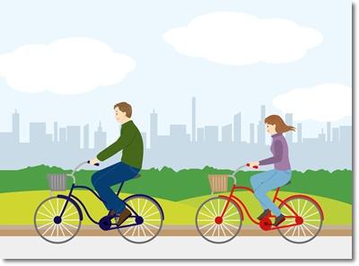 妊活中に二人で自転車デートのイラスト