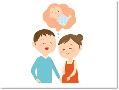 おなかの赤ちゃんに夫婦で話しかけるイラスト