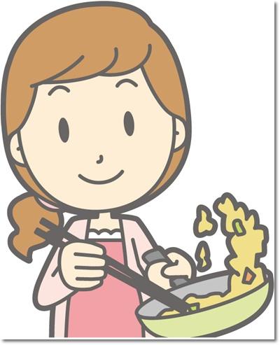 料理を作るイラスト。旦那に代わってほしい。