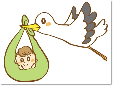 新生児とコウノトリのイラスト