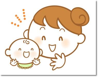 ママと喜ぶ赤ちゃんのイラスト