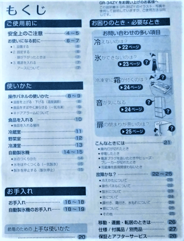 東芝冷凍冷蔵庫取扱説明書目次の画像