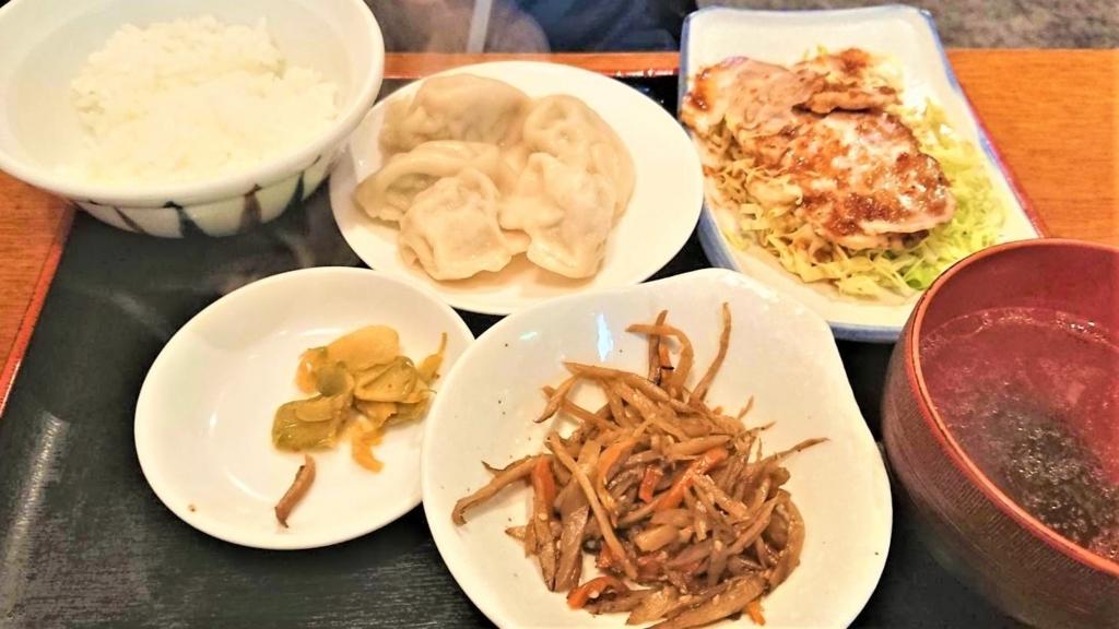 東京ドーム周辺「台北」の半水餃子+半焼豚定食の画像