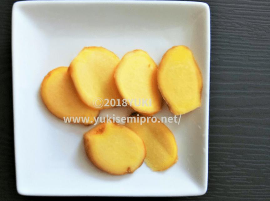 皮付き生姜の薄切りの画像