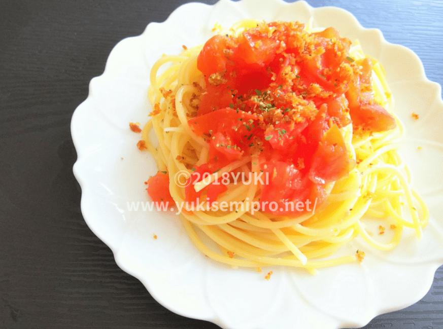 モッリーカをかけたフレッシュトマトのパスタの画像