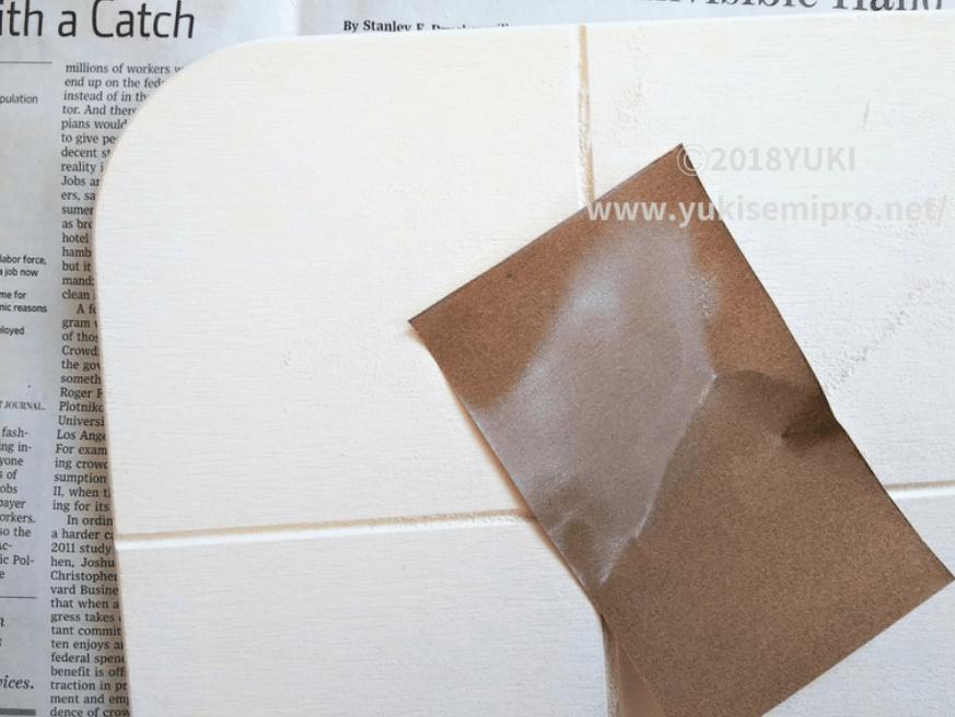 珪藻土バスマットを紙やすりで削った画像