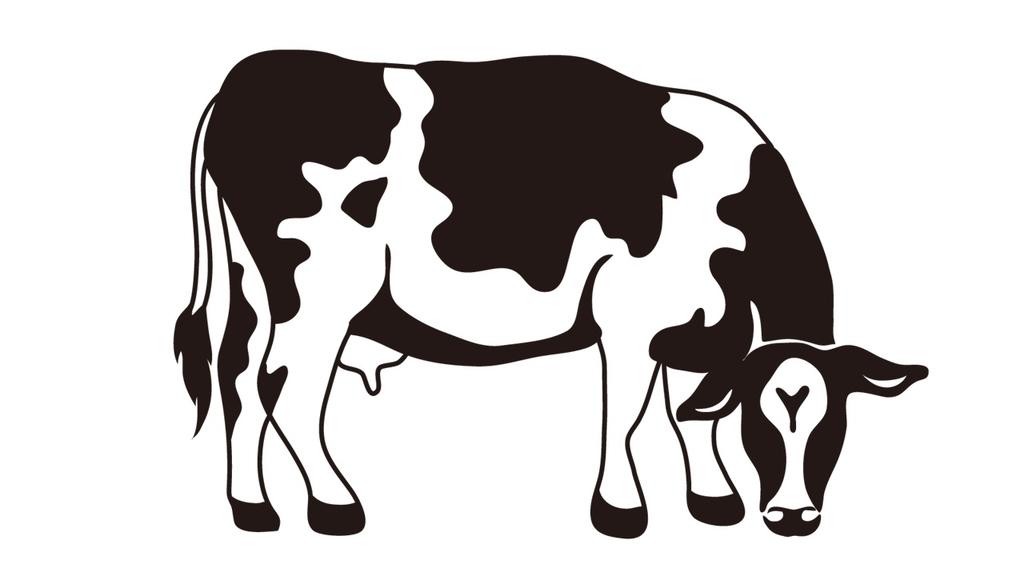 横向きに立っている牛のイラスト