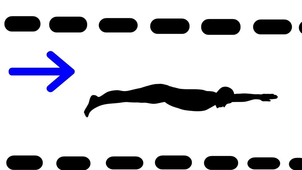 コースロープ内で泳ぐ男性のイラスト