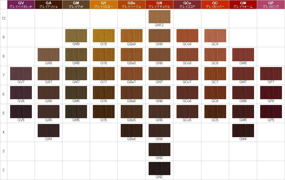 サロン専売品おすすめの白髪染め①:ナプラ:アクセスフリーHB グレイシスカラーチャート
