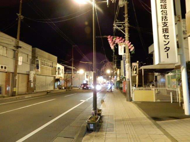 柴田町の町を通り船岡城址公園の桜ライトアップにむかいます