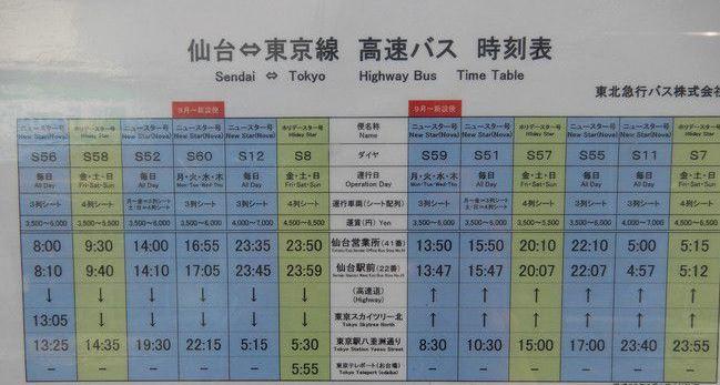 乗車体験記、東北急行バスニュースター号3列シートに乗ってみた、時刻表