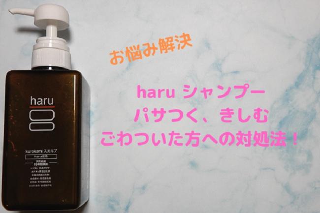 【美容師解説】haru シャンプーを使ってパサつく、きしむ、ごわついた方への対処法を解説!