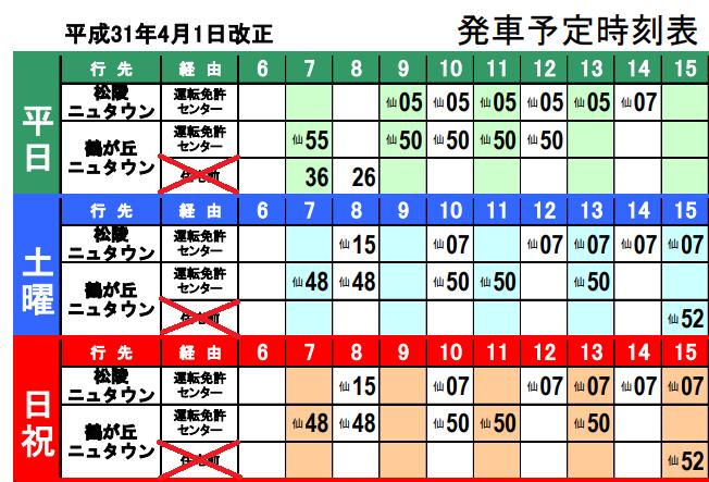 八乙女駅から運転免許センターへ向かうバスの時刻表