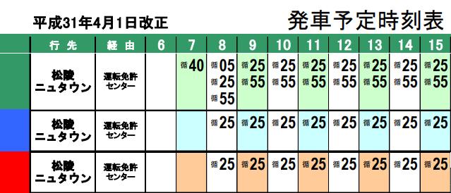 泉中央駅から運転免許センターへ向かうバスの時刻表
