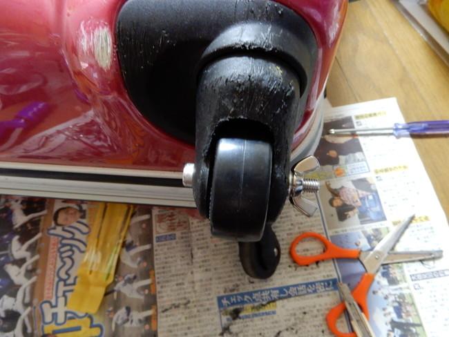 反対側の蝶ナットの方には1mmのワッシャーを取り付け修理完了