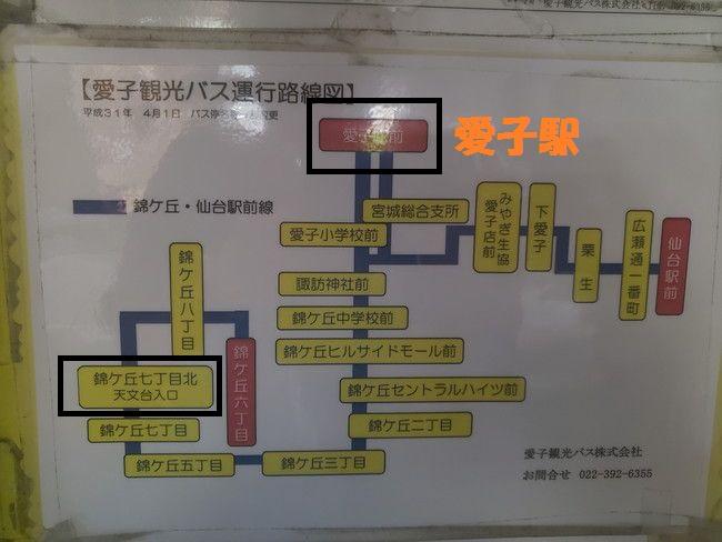 愛子駅から仙台市天台へのバスの路線表