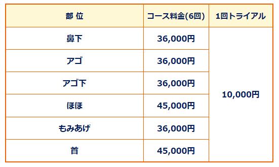 湘南美容クリニックとゴリラクリニックの料金比較、ゴリラクリニックの料金表