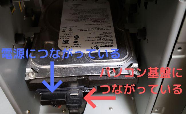 HDDとDVDドライブのケーブルは左の端子が電源 右がマザーボート(パソコン基盤)