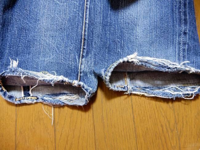 1000回以上穿いたフラッドヘッドデニムの経年変化、チェーンステッチ崩壊