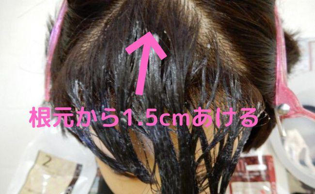 自宅で縮毛矯正するコツは根元から1.5cmぐらい空けて薬剤をつける