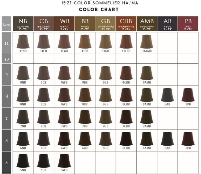 R-21 カラーソムリエ HA/NAのカラーチャート