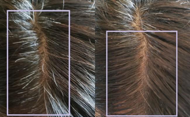 綺和美 白髪隠しカラーリングブラシROOT VANISHで白髪を染める前と染めた後