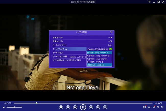 オーディオでは日本語や英語などの切り替えができる