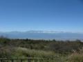 高ボッチ山の駐車場から180度の眺め 穂高、槍ヶ岳、上高地方面