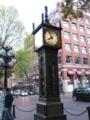 ギャスタウンの蒸気時計 上から蒸気が・・・