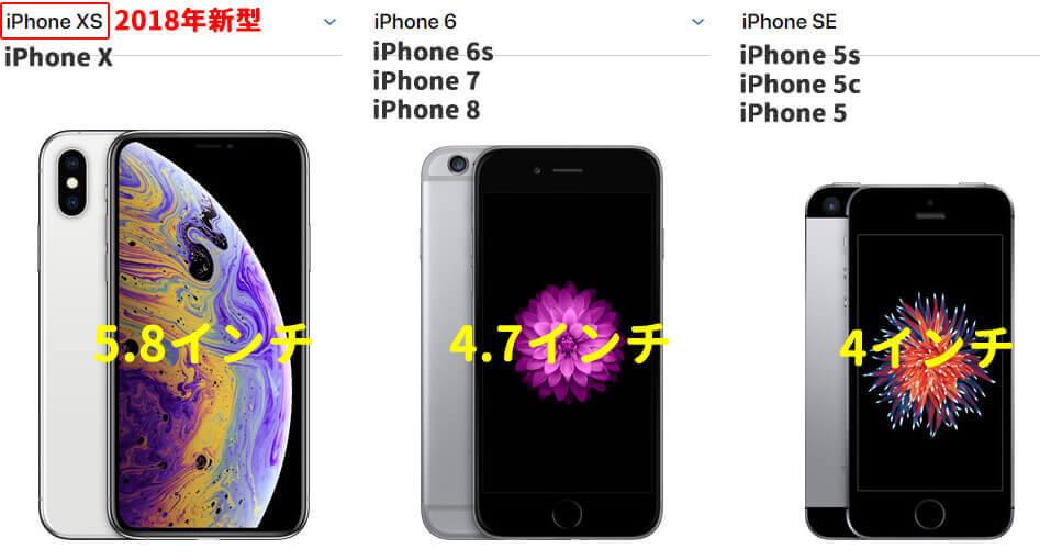 新型iPhoneXSと歴代iPhoneとのサイズ比較