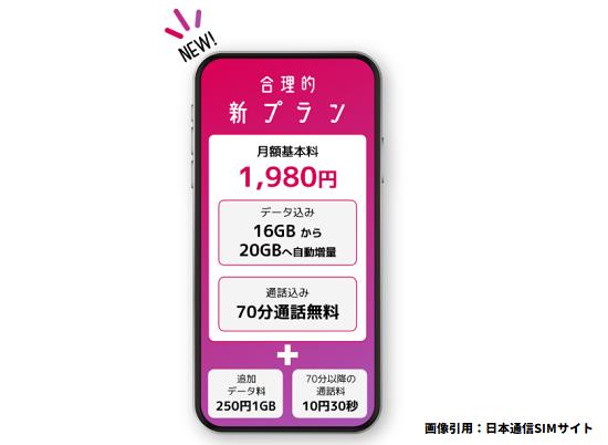 日本通信SIMからドコモ対抗の新プラン提供開始