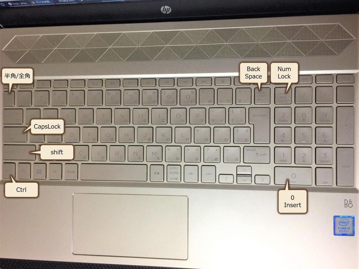 HP製ノートPC(Pavilion 15-CS0020TU)のキーボード