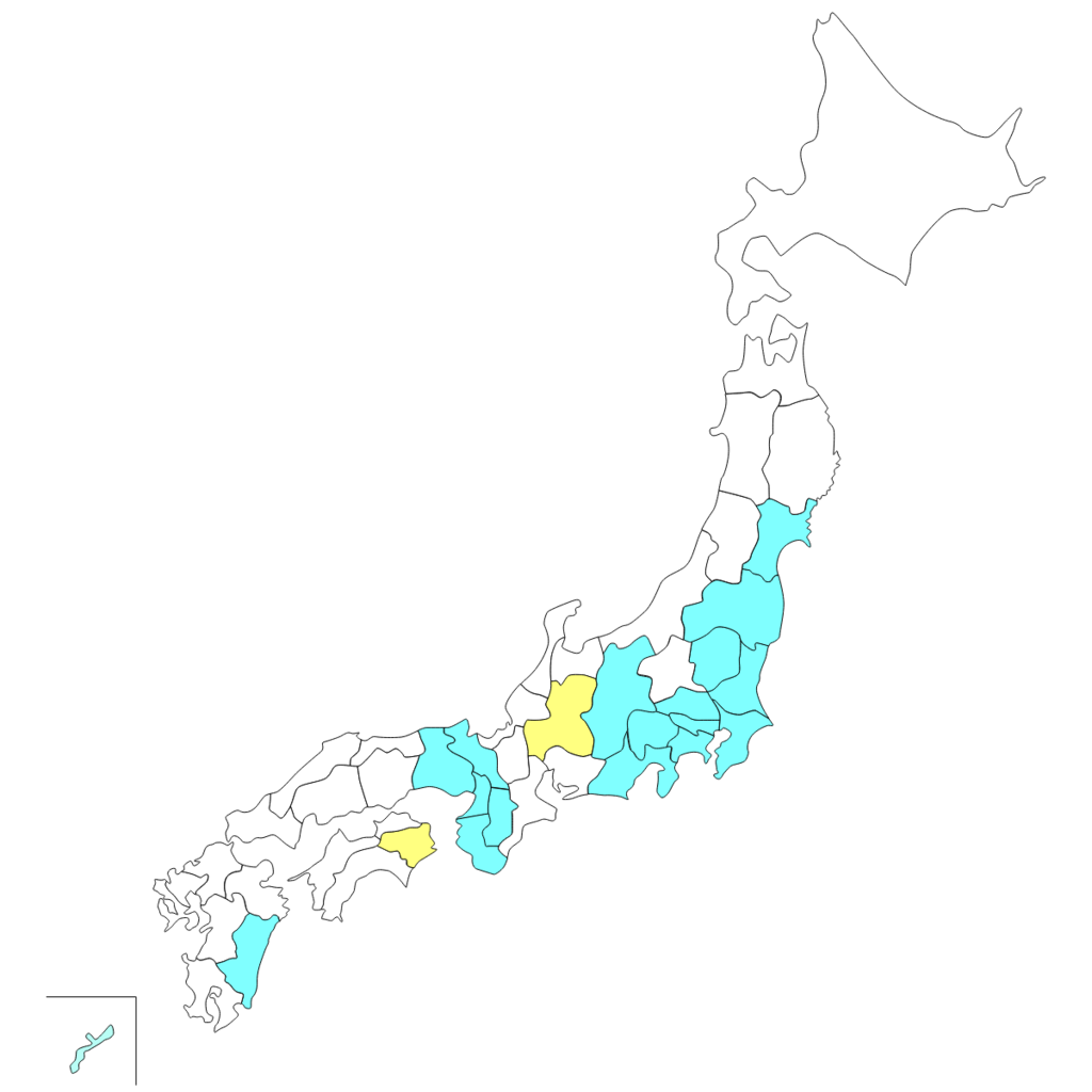 行ったことがある地域の地図
