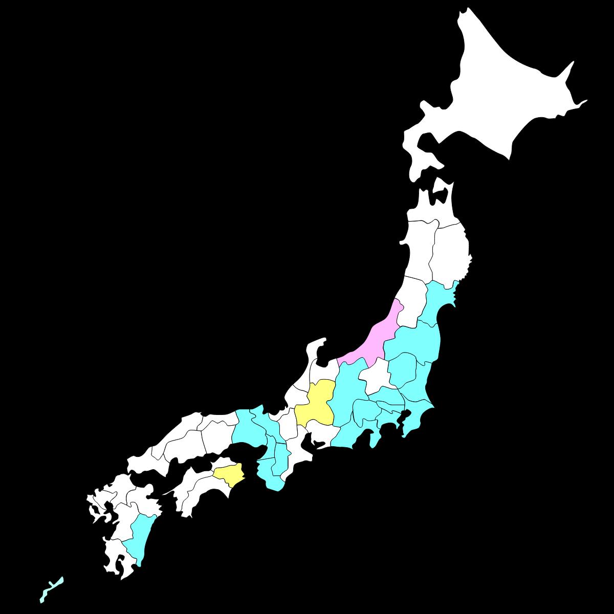新潟県がピンクに塗られた日本地図