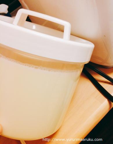 R-1で自家製豆乳ヨーグルト-成功