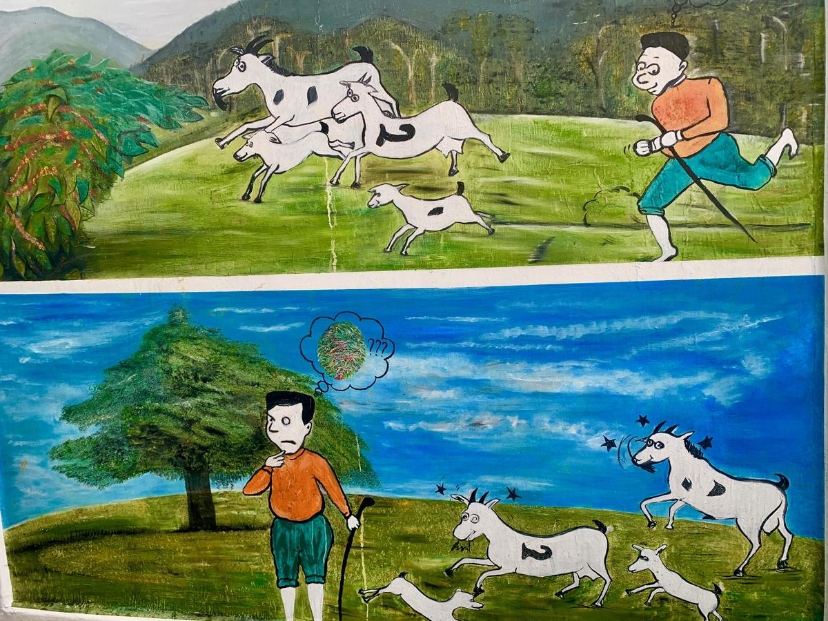 ルワンダのコーヒー農園にあったカルディ物語の絵