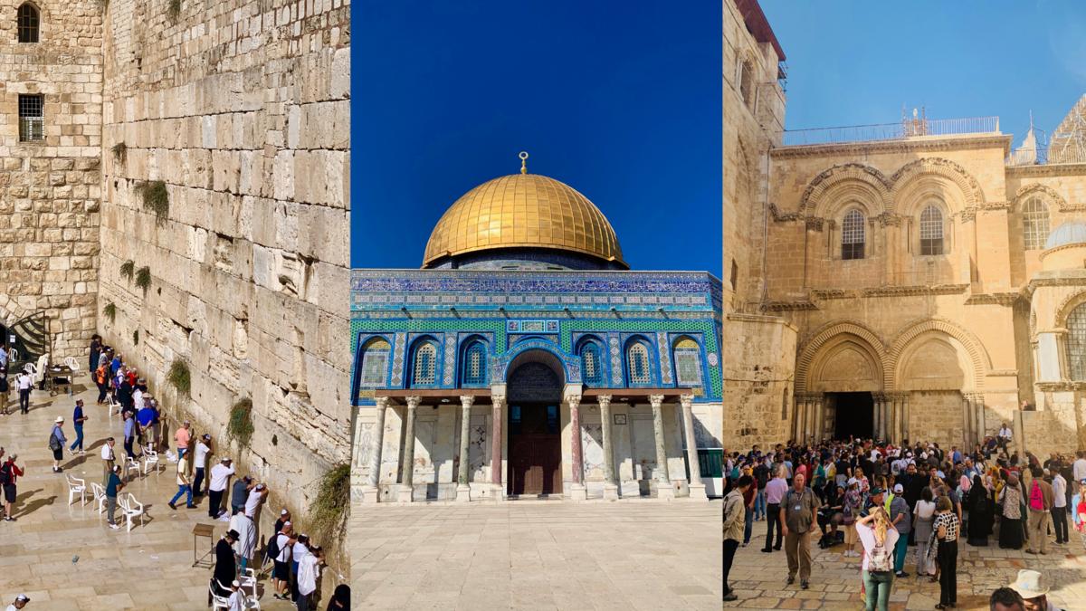 エルサレムにある3つの宗教の聖地。ユダヤ教の嘆きの壁、イスラム教の岩のドーム、キリスト教の聖墳墓教会