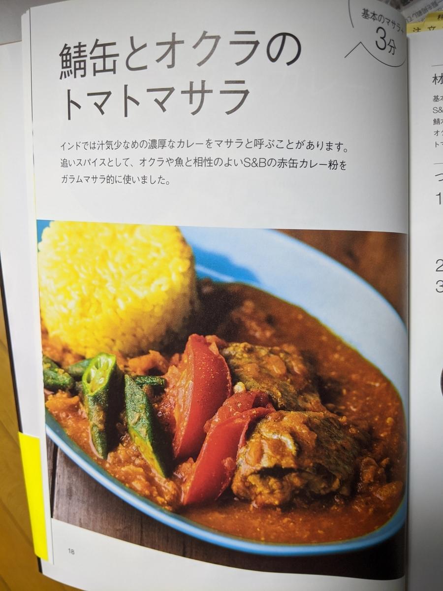 レシピ本のトマトマサラ