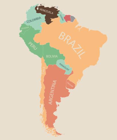 物価 南米 地図