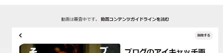 ピンタレスト・動画ピン審査中