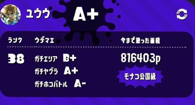 【ユウウ】ウデマエ(ガチエリア:B+/ガチヤグラ:A+/ガチホコ:A-)