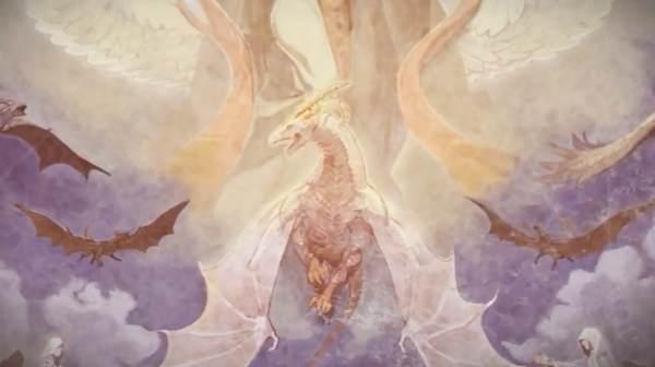壁画2「白い竜と複数の竜、マムクートの可能性」