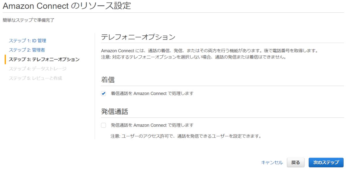 Amazon Connect の初期設定(テレフォニーオプション)
