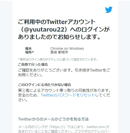 Twitterからのメール